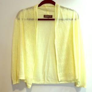 Jones New York yellow knit sweater cardigan